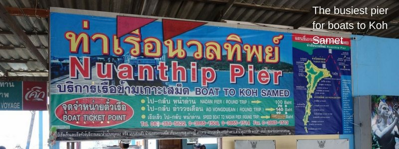 Sign for boat times to Koh Samet at Nuan Thip pier, Ban Phe