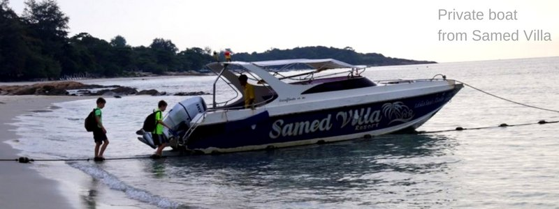 Private speedboat from Samed Villa. Goes to piers in Ban Phe